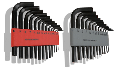 25 Piece Long-Reach SAE and Metric Hex Key Set